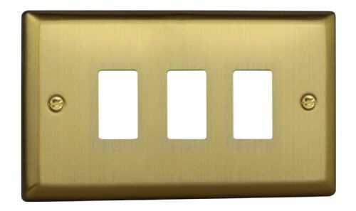 Varilight XYPGY3.BB Urban Brushed Brass 3 Gang PowerGrid Plate (Twin Plate)